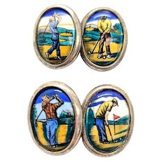 Vintage Sterling Silver Hand Painted Golf Cufflinks
