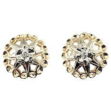 Vintage 14 Karat Yellow Gold and Diamond Earrings