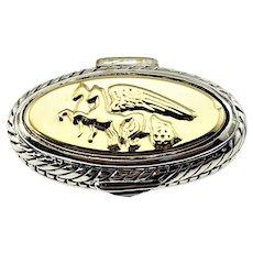 Vintage Flli Menegatti Sterling Silver 18K Yellow Gold and Garnet Pegasus Ring Size 7.75