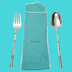 Tiffany & Co Sterling Silver Bamboo 2pc Serving Set, Fork and Spoon with Pouch