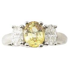 Vintage 14 Karat White Gold Yellow Sapphire and Diamond Ring Size 7.75 GAI Certified