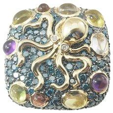 Vintage 14 Karat Yellow Gold Diamond, Amethyst, Peridot and Garnet Octopus Ring Size 7.5 GAI Certified