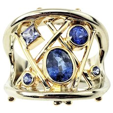 Vintage 14 Karat Yellow and White Gold and Tanzanite Ring Size 6.5 GAI Certified