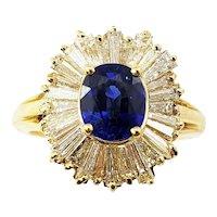 Vintage 18 Karat Yellow Gold Sapphire and Diamond Ring Size 6 GAI Certified