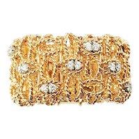 Vintage Roberto Coin 18 Karat Rose Gold and Diamond Barocco Mesh Ring Size 6
