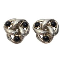 Sterling Silver 14K Yellow Gold Accent Onyx Large Knot Earrings