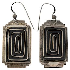 Native American G&J Runnels Sterling Silver Dangle Earrings