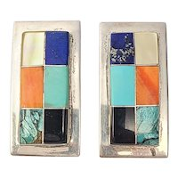 Native American M Jeme Sterling Silver Multi-Stone Channel Inlay Earrings