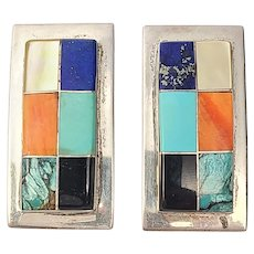 Native American M Jeme Sterling Silver Multi-Stone Channel Inlay Earrings