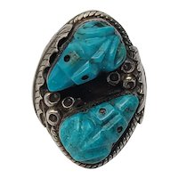 Native American Signed PB Sterling Silver Carved Turquoise Frog Ring, Size 10 1/2