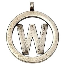 "Mignon Faget Sterling Silver ""W"" Initial Pendant"