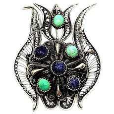 Vintage 900 Silver Lotus Flower Pin/Pendant