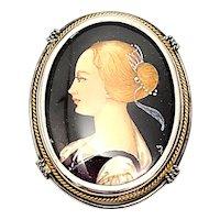 800 Silver Handpainted Portrait Pin/Pendant