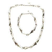 Mexico Sterling Silver Butterfly Style Link Necklace and Bracelet Set