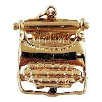 Vintage 14K Yellow Gold Typewriter Charm Pendant
