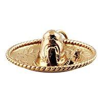 Vintage 14K Yellow Gold Sombrero Charm