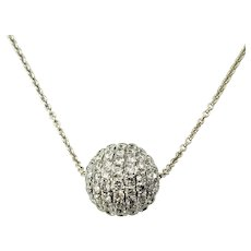 Vintage 18 Karat White Gold Diamond Ball Pendant Necklace GAI Certified