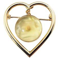 Vintage 14 Karat Yellow Gold Heart Mustard Seed Brooch/Pin