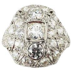 Vintage Platinum and Diamond Ring Size 7 GAI Certified