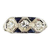 Vintage 14 Karat White Gold Filigree Sapphire and Diamond Ring Size 7.25