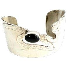 Carol Felley 1995 Sterling Silver Onyx Cuff Bracelet