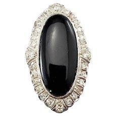 Vintage Platinum Onyx and Diamond Ring Size 7
