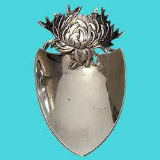 Antique George W Shiebler Sterling Silver Chrysanthemum Nut Shovel Spoon with Mono