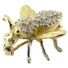 Vintage 18K Yellow Gold and Diamond Bee Brooch Pin