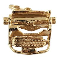 Vintage 14K Yellow Gold Typewriter Charm Pendant with Movable Carriage
