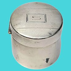 Vintage Tiffany & Co Blackinton Sterling Silver Round Stamp Dispenser Box with Monogram