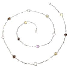 """Tacori Sterling Silver 18K Yellow Gold Candy Drop Necklace, 38"""""""