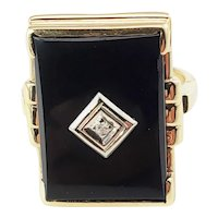 Vintage 10 Karat Yellow Gold Onyx and Diamond Ring Size 6