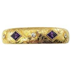 Vintage 14 Karat Yellow Gold Amethyst and Diamond Bangle Bracelet