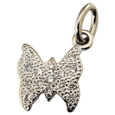 Vintage Dodo 18 Karat White Gold Diamond Butterfly Charm