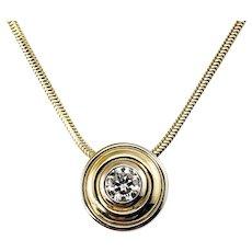 Vintage 14 Karat Yellow Gold Diamond Pendant Necklace