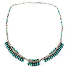Native American Silver Petit Point Turquoise Panel Link Necklace