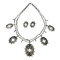Antique Victorian Foster Sterling Silver Oval Bird Beaded Edge Necklace and Earrings Set