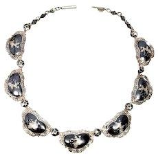 "Vintage Siam Sterling Silver Niello Necklace, 15"""
