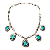 """Native American Bernadette Eustace Sterling Silver Turquoise Shadow Box Necklace, 17"""""""
