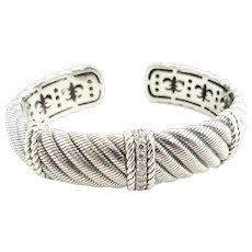 Judith Ripka Sterling Silver Diamonique Hinged Cuff Bracelet