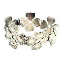Vintage Rubens Mexico Sterling Silver Four Leaf Clover Link Bracelet