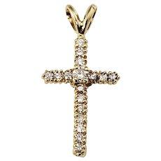Vintage 14 Karat Yellow Gold and Diamond Cross Pendant Necklace