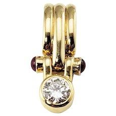 Vintage 14 Karat Yellow Gold Diamond and Garnet Pendant GAI Certified