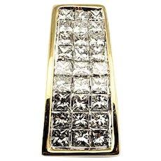 Vintage 14 Karat Yellow Gold Princess Cut Diamond Pendant GAI Certified