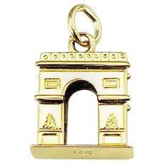 Vintage 10 Karat Yellow Gold Arc De Triomphe Paris Charm