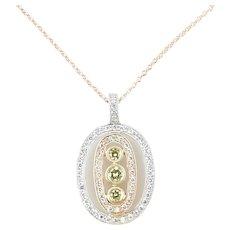 """Simon G 18K Tri Gold White and Yellow Diamond Oval Necklace 16"""" - 18"""""""