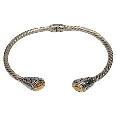 Sterling Silver 18K Yellow Gold Hinged Cuff
