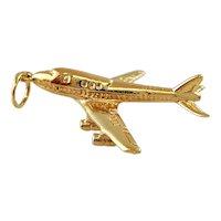 Vintage 14K Yellow Gold Airplane charm