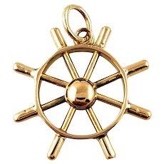 Vintage 10K Yellow Gold Ship Wheel Charm