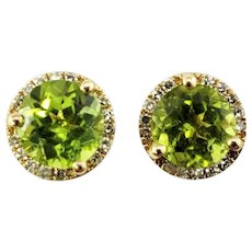 Vintage 10 Karat Yellow Gold Green Tourmaline and Diamond Earrings GAI Certified